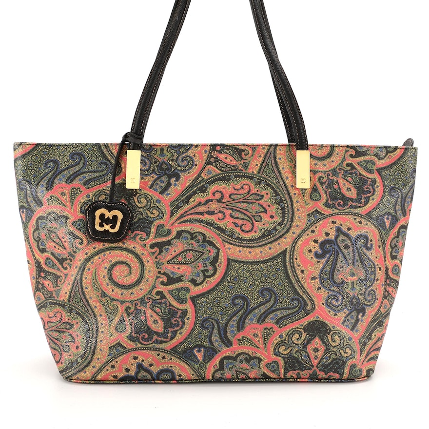 Eric Javits Paisley Coated Canvas Tote with Black Leather Trim