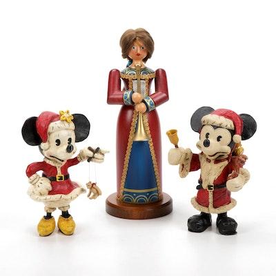 Santa and Mrs. Santa Mickey and Minnie Poliwoggs with German Nutcracker