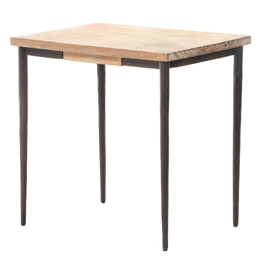 Cerused Hardwood and Iron Side Table