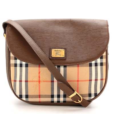 """Burberry Flap Front Crossbody Bag in """"Haymarket Check"""" and Brown Leather"""