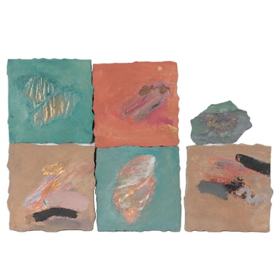 """Sharon Dougherty Mixed Media Six-Panel Series """"A Piece of the Wall,"""" 1996"""