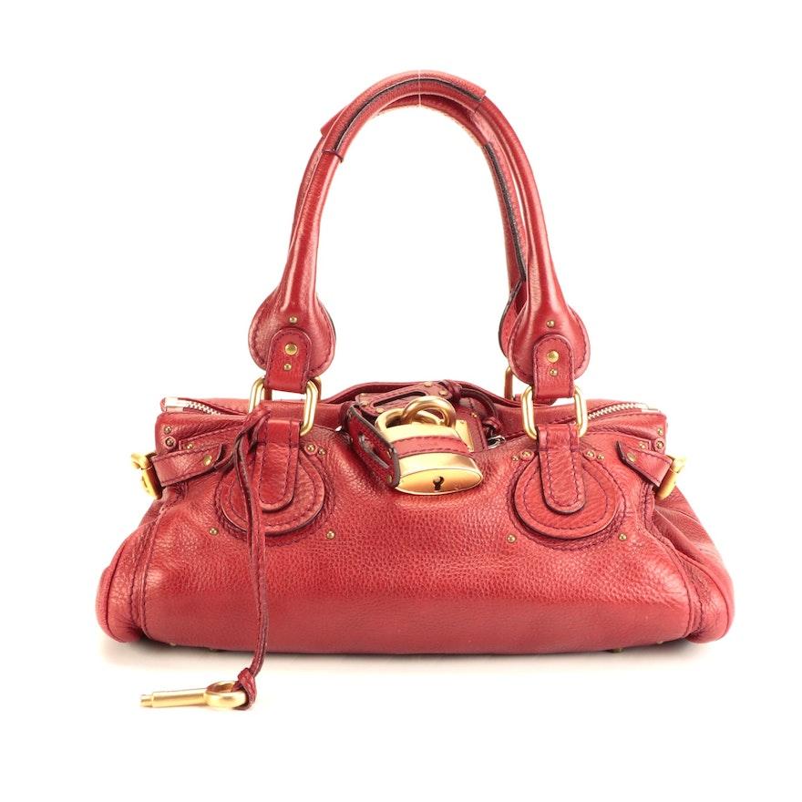 Chloé Paddington Medium Satchel in Red Grained Leather