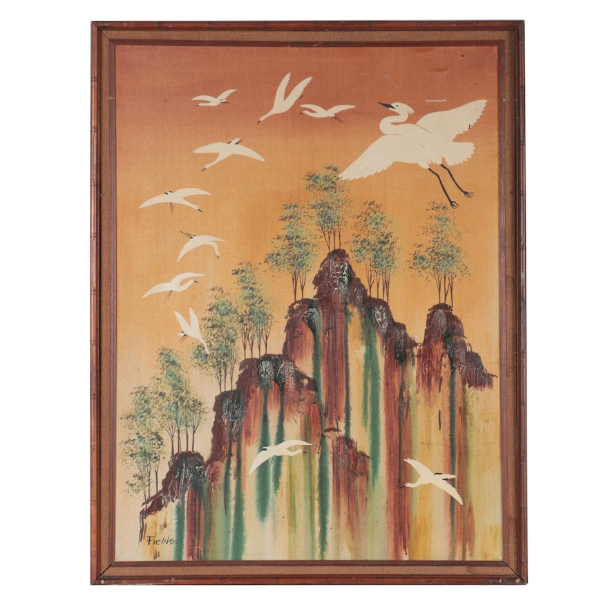 Oil Painting of Cranes Flying in Abstract Landscape, Late 20th Century