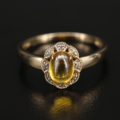 14K Glass Cabochon and Diamond Halo Ring