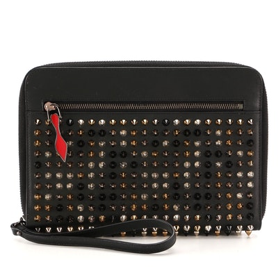 Christian Louboutin Mini Zip Agenda in Black Leather with Tri-Tone Studs