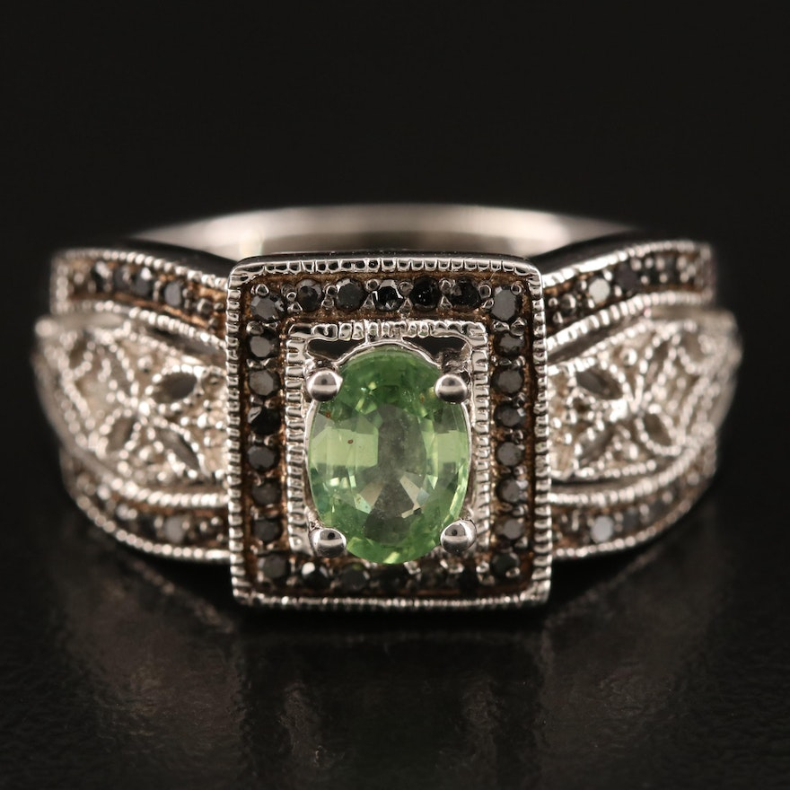 Sterling Alexandrite and Diamond Ring