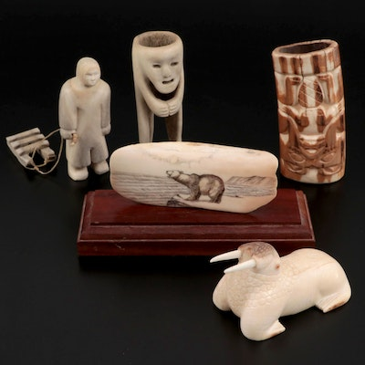 Inuit Hand-Carved Fossilized Ivory and Bone Figures