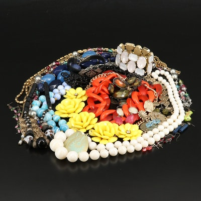 Selection of Necklaces, Earrings and Bracelets Featuring Art Glass