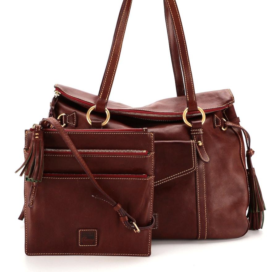Dooney & Bourke Florentine Leather Large Satchel and Triple Zip Crossbody Bags