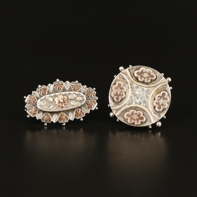 Victorian Sterling Flower Brooches with Sydenham Brothers