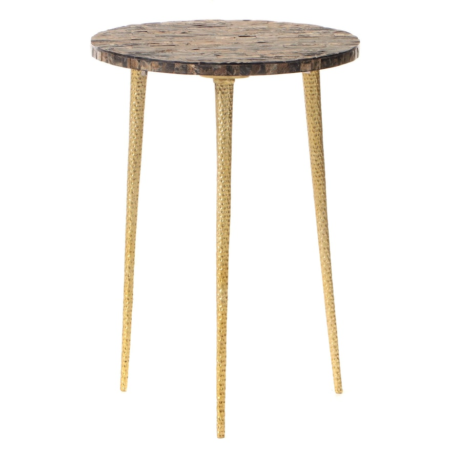 Modernist Style Gilt Metal and Tessellated Horn Side Table