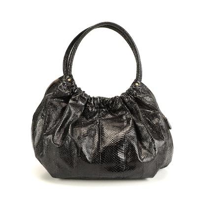 Beirn Black Gathered Snakeskin Shoulder Bag