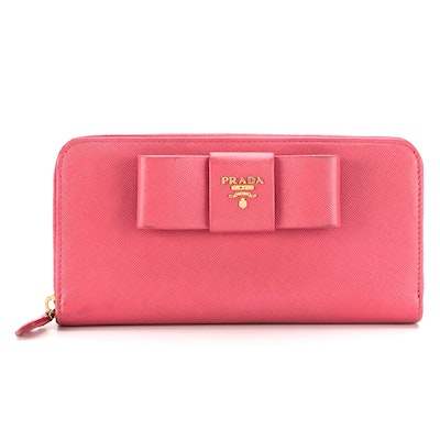 Prada Continental Bow Wallet in Peonia Saffiano Leather with Box