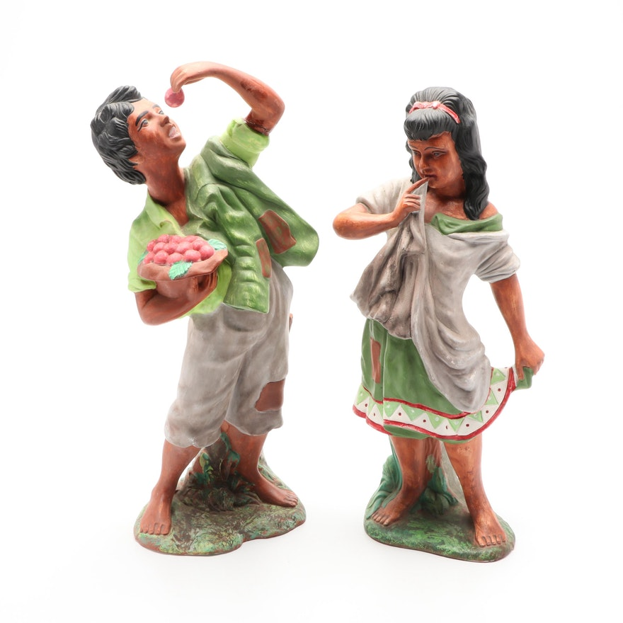 Hand-Painted Ceramic Figurines of Boy and Girl