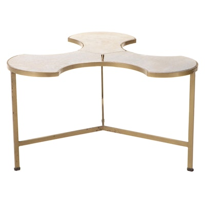 Modernist Style Gilt Metal and Marble Top Coffee Table