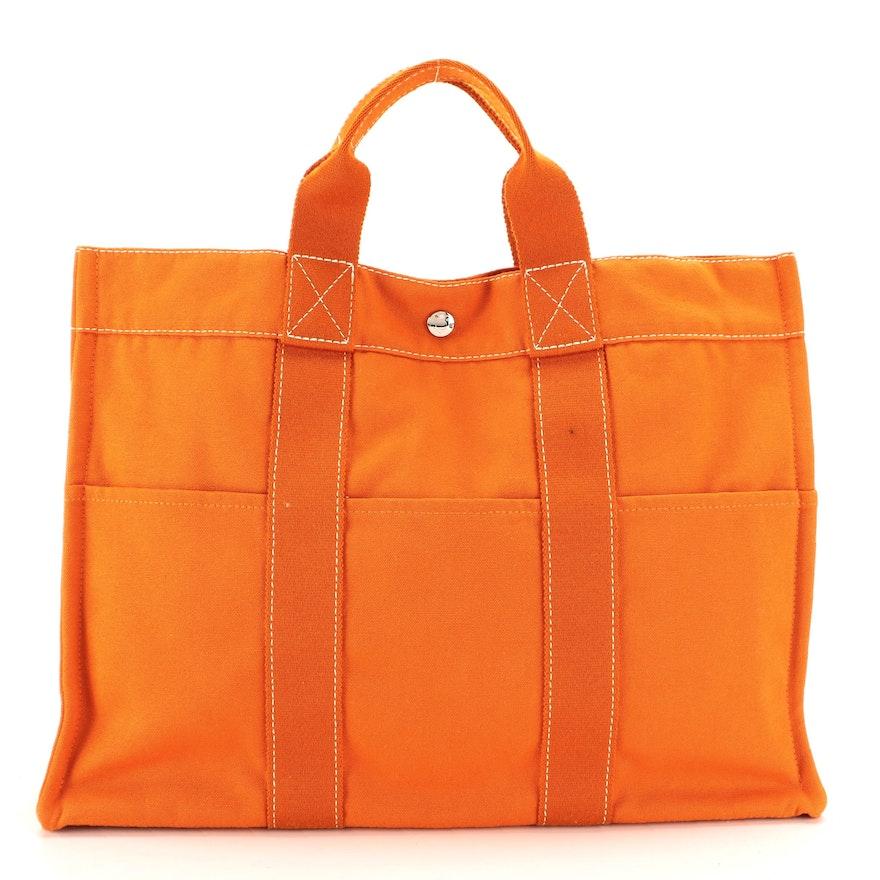 Hermès Fourre Tout MM Tote in Orange Cotton Canvas