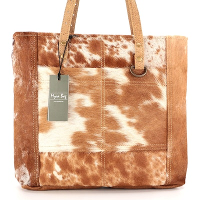 Myra Bag S-1428 Caramel Pocket Tote Bag in Upcycled Canvas and Cowhide