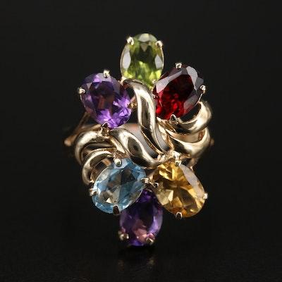 14K Topaz, Amethyst and Gemstone Cluster Ring
