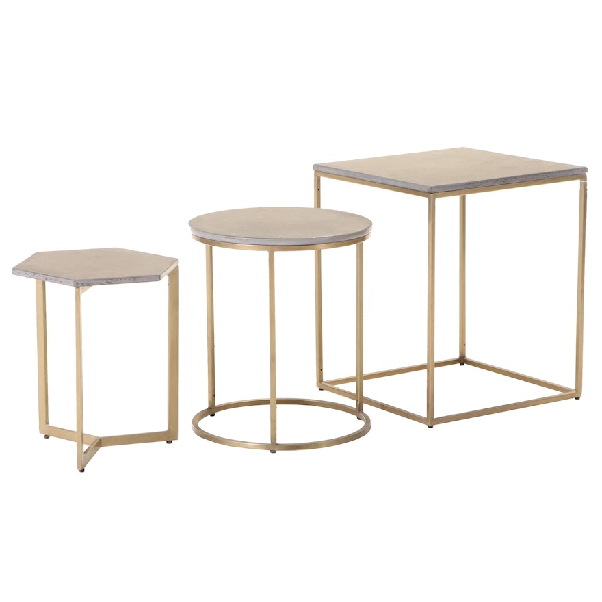 """Set of Three Blue Ocean Traders """"Concepts"""" Gilt Metal and Composite Side Tables"""