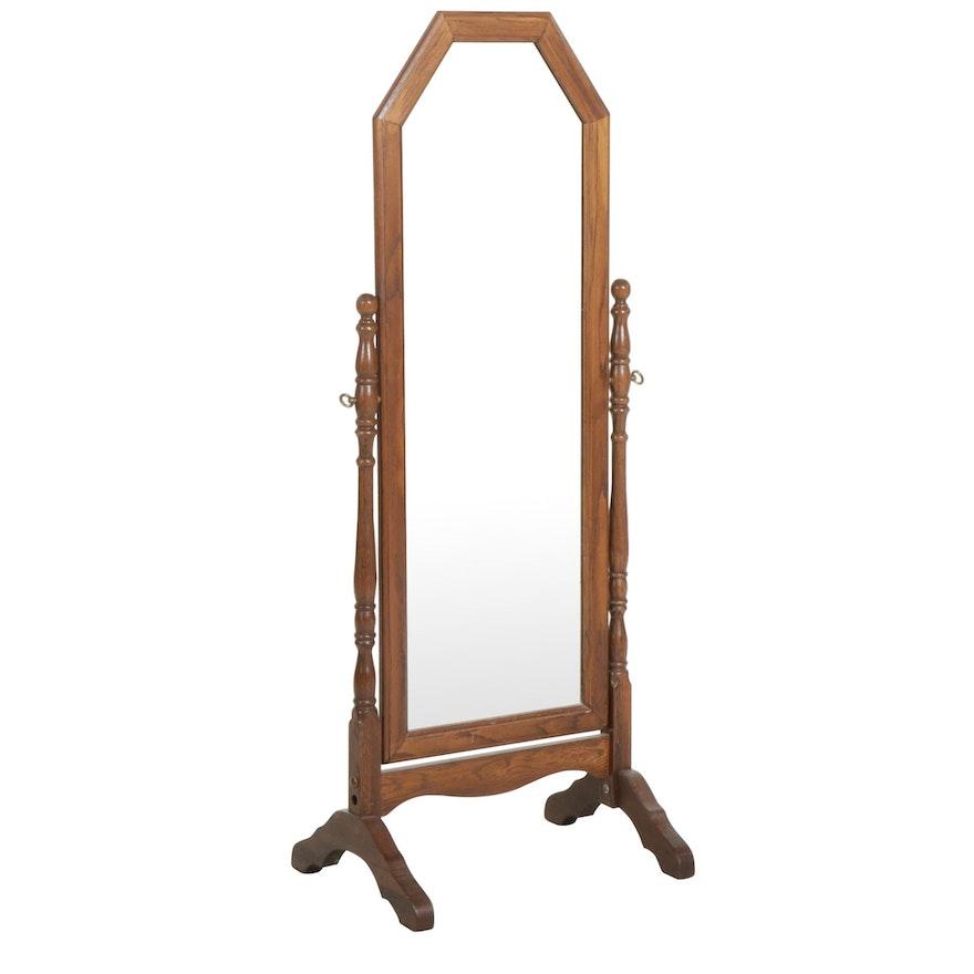 Oak Cheval Mirror, Late 20th Century