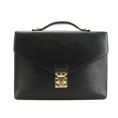 Louis Vuitton Single Compartment Ambassador Briefcase in Black Epi Leather