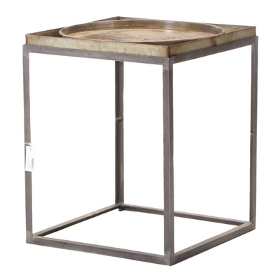 "Blue Ocean Traders ""Trays Display"" Patinated Metal Side Table"