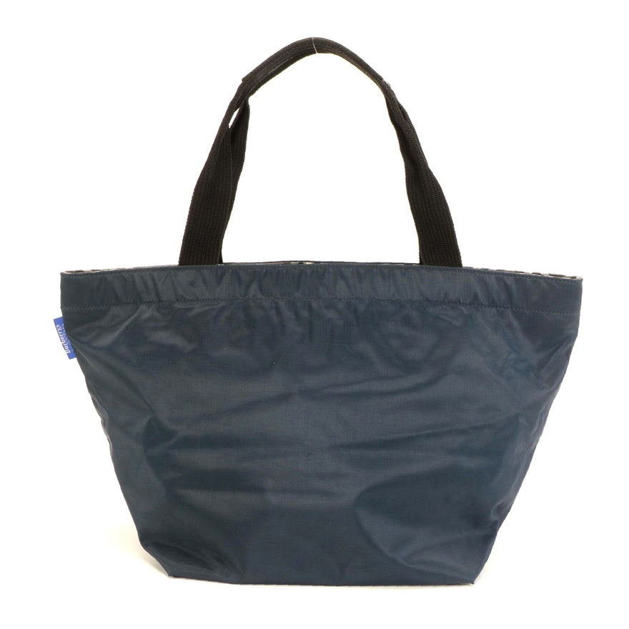 Burberrys Blue Label Zippered Tote Bag in Blue Nylon