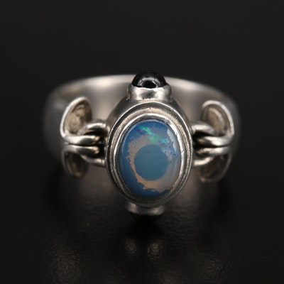 Sterling Opal and Tourmaline Ring