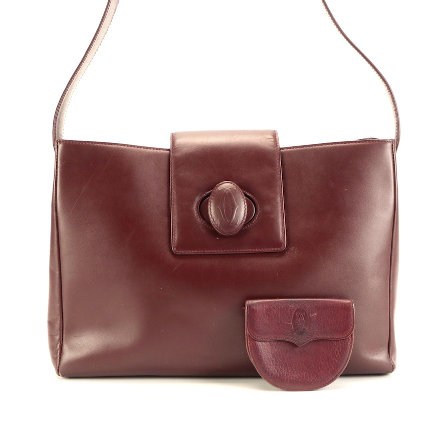 Must De Cartier Shoulder Bag in Burgundy Leather with Coin Pouch
