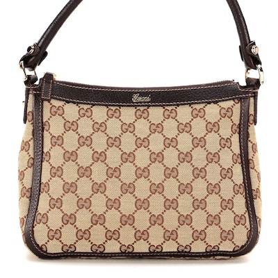 Gucci Small Abbey Shoulder Bag in GG Canvas with Brown Leather Trim