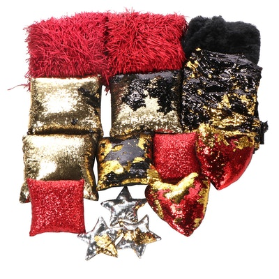 Cynthia Rowley Shag Pillows with Sequin and Reversible Sequin Pillows and Throw
