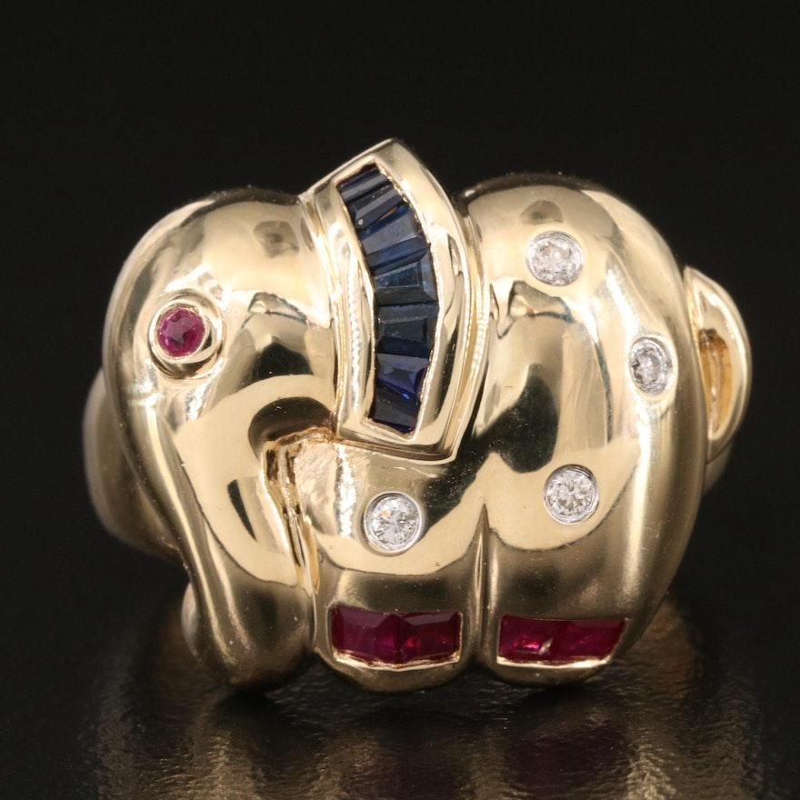 14K Sapphire, Ruby and Diamond Elephant Ring