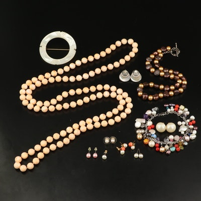 Jewelry Including Mother of Pearl, Pearl and Additional Gemstones
