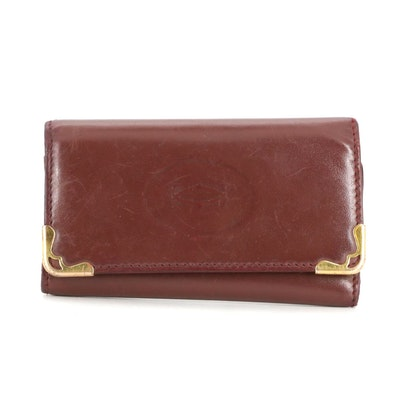 Cartier Four-Key Holder Case in Burgundy Leather