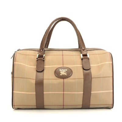 Burberry Check Canvas and Leather Duffel Carry-On Bag