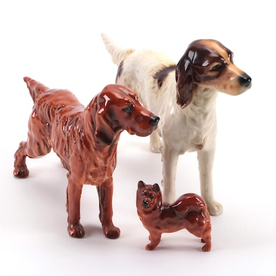 Royal Doulton Bone China Spaniel Figurine with Other Canine Figurines