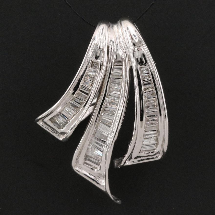 14K Diamond Ribbon Slide Pendant