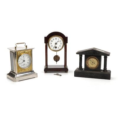 German Made Vintage Desk Clocks Including Junghans