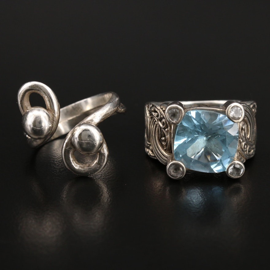 Robert Manse Sterling Sky Blue Topaz Ring with 18K Accents and Bypass Ring