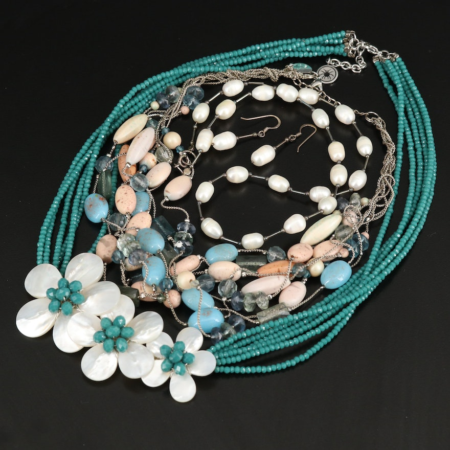 Necklaces and Earrings Including Sterling, Pearl and Mother of Pearl