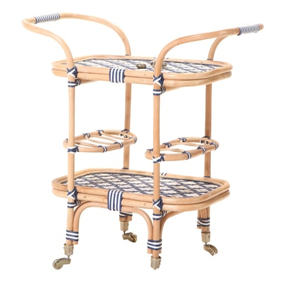 """Blue Ocean Traders """"Cannes"""" Bamboo and Synthetic Wicker Bar Cart"""