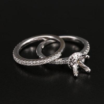14K Diamond Semi-Mount Ring and Band Set