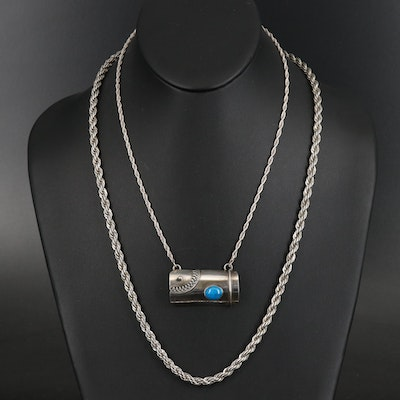 Sterling Rope Necklaces Including Faux Turquoise