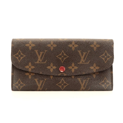 Louis Vuitton Emilie Wallet in Monogram Canvas with Red Taïga Leather
