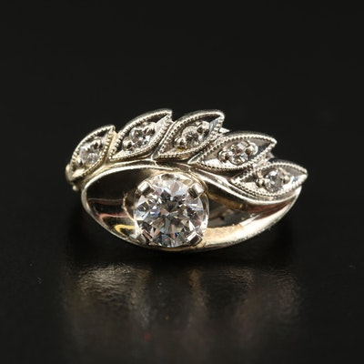 14K Diamond Stylized Eye Ring