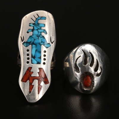 Western Style Sterling Coral and Turquoise Pointer Ring and Bear Paw Ring