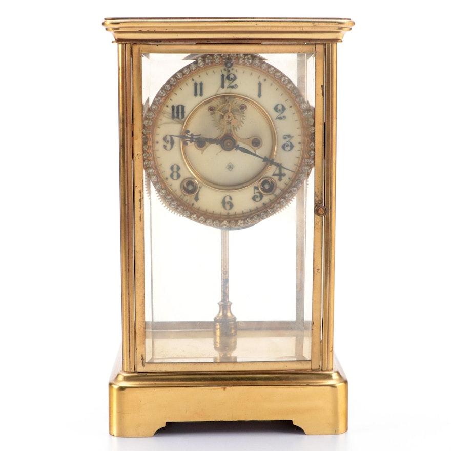 Ansonia Clock Co. Jeweled Bezel Mantel Clock, Early to Mid 20th Century