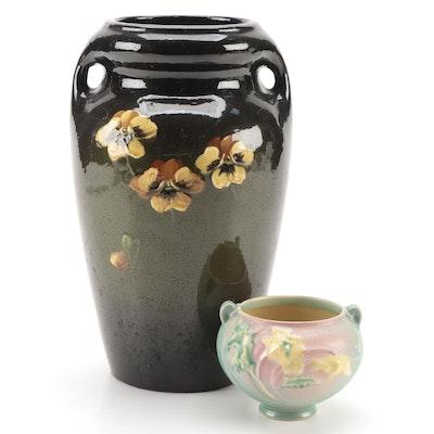 American Standard Glaze Art Pottery Pansy Vase with Roseville Pottery Jardiniere