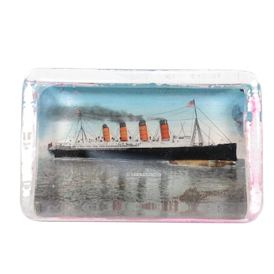 Victorian Reverse Glass R.M.S. Mauretania Paperweight, Early-Mid 20th Century