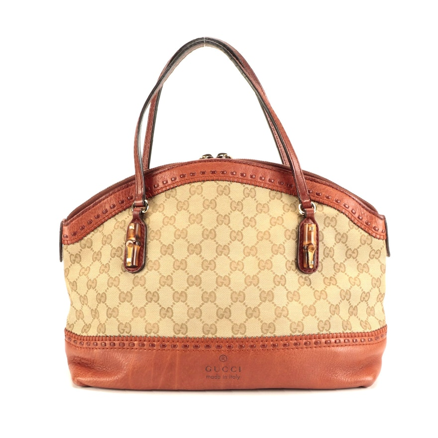 Gucci Laidback Crafty Top Handle Bag in GG Canvas and Leather